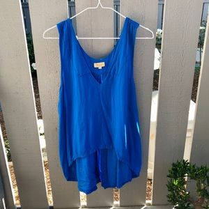Cobalt blue high-low tank top